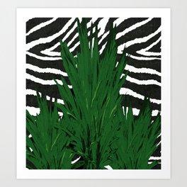 ZEBRA PALM WINTER GREEN Art Print