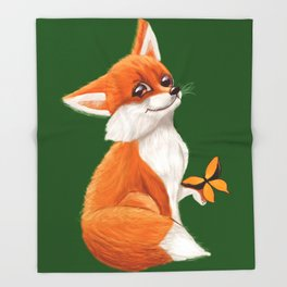 Cute fox playing with a butterfly Throw Blanket