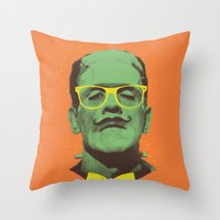 frank Throw Pillows featuring Mr Frank by Victor Vercesi