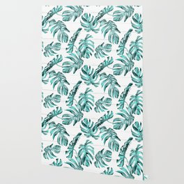 Turquoise Palm Leaves on White Wood Wallpaper