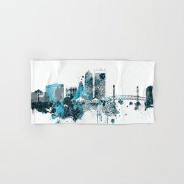 Jacksonville Monochrome Blue Skyline Hand & Bath Towel