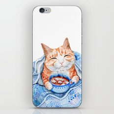Happy Cat Drinking Hot Chocolate iPhone Skin