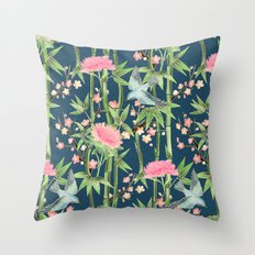 Bamboo, Birds and Blossom - dark teal Throw Pillow