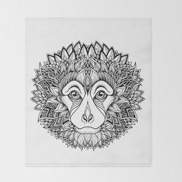 MONKEY head. psychedelic / zentangle style Throw Blanket
