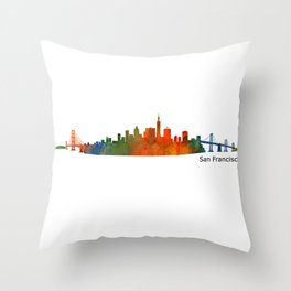 San Francisco City Skyline Hq v1 Throw Pillow