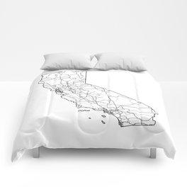 California White Map Comforters