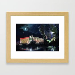 Moonrise over Burger King Framed Art Print