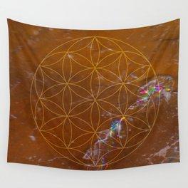Orange Calcite // Flower of Life Wall Tapestry