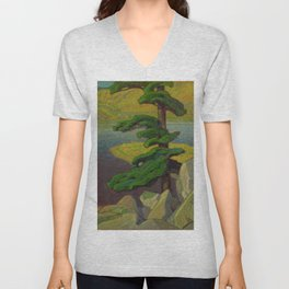 Canadian Landscape Oil Painting Franklin Carmichael Art Nouveau The Upper Ottawa near Mattawa Unisex V-Neck