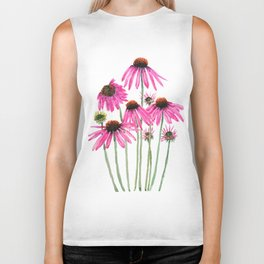 pink coneflowers watercolor Biker Tank