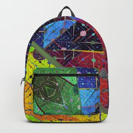 Trapeze Multicolor Diagonal Abstract Backpack