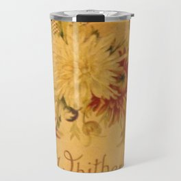 Antique Book Cover for literacy lovers  Floral with ivory and red #longfellow #poetry Travel Mug
