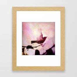 Boho Bird Taking Flight Pink Purple Glow Framed Art Print