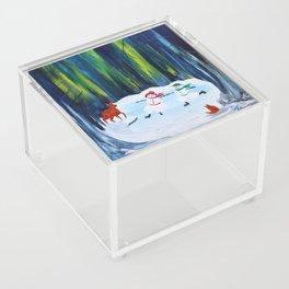 Christmas Night with dancing snowmen Acrylic Box