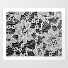 black and white laced Art Print
