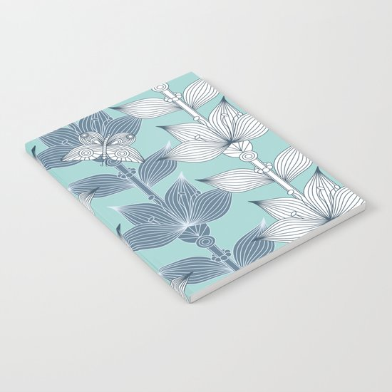 WHITE AND BLUE FLOWERS Notebook