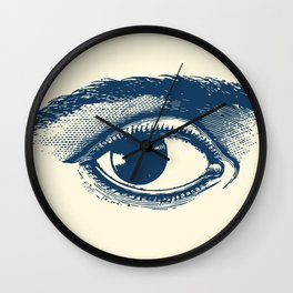 I see you. Navy Blue on Cream Wall Clock