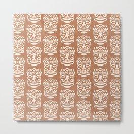 Tiki Pattern Brown & Beige Metal Print