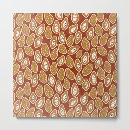Red and Ochre Fruits and Flowers Metal Print