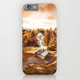 aerial view of a cabin in vermont iPhone Case