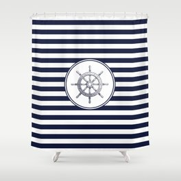 Steering Wheel and Navy Blue Stripes Shower Curtain