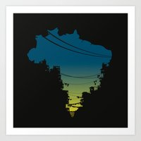 brazil Art Prints featuring Brazil by jenkydesign