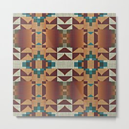 Native American Indian Tribal Mosaic Rustic Cabin Pattern Metal Print