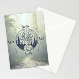 Compass Mountain Road Trip Stationery Cards