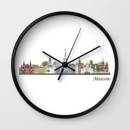 Moscow skyline colored Wall Clock