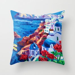 Santorini churches Throw Pillow