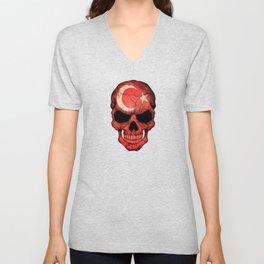 Dark Skull with Flag of Turkey Unisex V-Neck