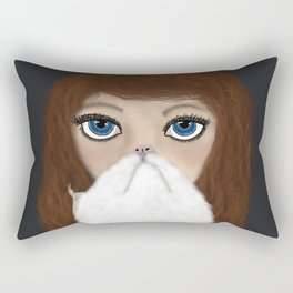 Crazy Cat Lady With Curly Hair Rectangular Pillow