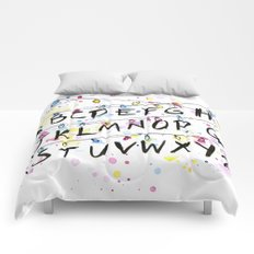 Stranger Things Alphabet Wall Christmas Lights Typography Comforters