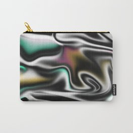Psychedelic Liquid Abstract Paint in Black White Pink Turquoise Carry-All Pouch