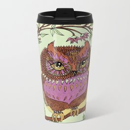 Small Pink Owlet With Wildflower Wreath Metal Travel Mug