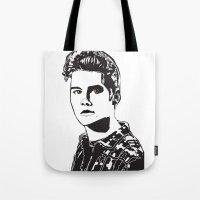stiles stilinski Tote Bags featuring Stiles Stilinski Teen Wolf Design by ShondraHilliard.com