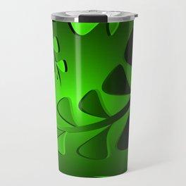Pattern turquoise black plants grass blades minty vintage style. Travel Mug