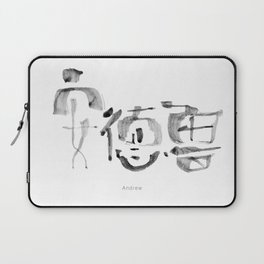 Name: Andrew. Free hand writing in Chinese Calligraphy Laptop Sleeve
