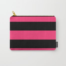 Black and Pink Stripes Carry-All Pouch