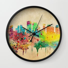 New Orleans Watercolor Print City Skyline Home Decor Wall Clock