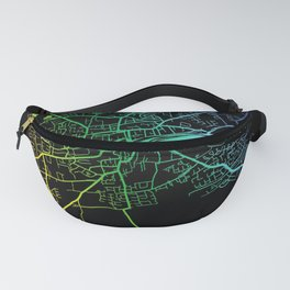 Drogheda, County Louth, City, Map, Rainbow, Map, Art, Print Fanny Pack