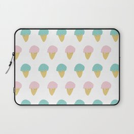 Sprinkle Ice Cream Cone Repeat in Pink + Atomic Mint on White Laptop Sleeve