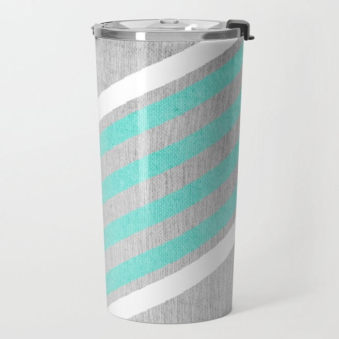 Teal and White Chevron on Silver Grey Wood Travel Mug