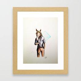 Horse in Casual Wear Framed Art Print