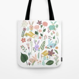 Springtime In The Bunny Garden Of Floral Delights Tote Bag