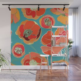 Turquoise California Poppies Wall Mural