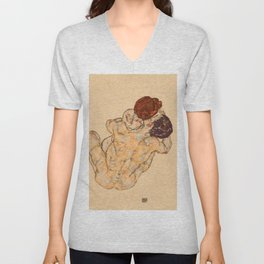 """Egon Schiele """"Mann und Frau (Umarmung)"""" Unisex V-Neck"""