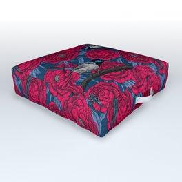 Wrens in the peonies Outdoor Floor Cushion