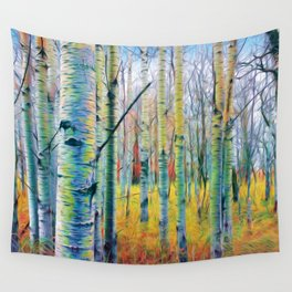 Aspen Trees in the Fall Wall Tapestry