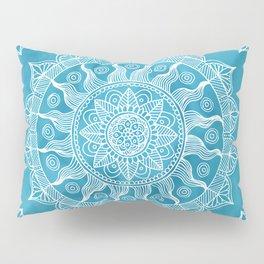 Chic Blue Boho Mandala Pillow Sham